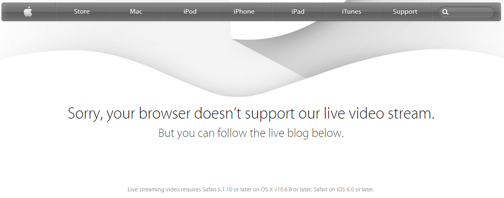 Apple's Live Event for iWatch Only Available to Safari Users